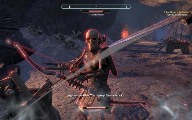 Kurz nach dem Anfang befinden wir uns in Gefechten mit Skelettkriegern. (Screenshots: Golem.de)