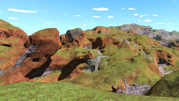 Die Upvoid Engine generiert aus dieser öden Landschaft ... (Screenshot: Marc Sauter/Golem.de)