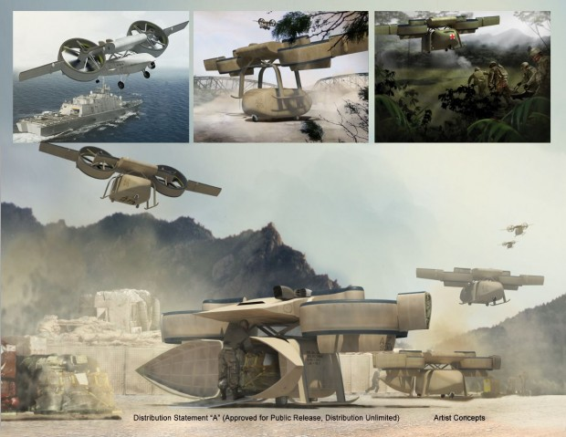 Ares mit Nutzlastmodulen: Güter-Transport  (oben Mitte und unten), Verwundeten-Bergung (oben rechts) und als Aufklärungs- und Spionagedrohne (oben links). (Bild: Darpa)