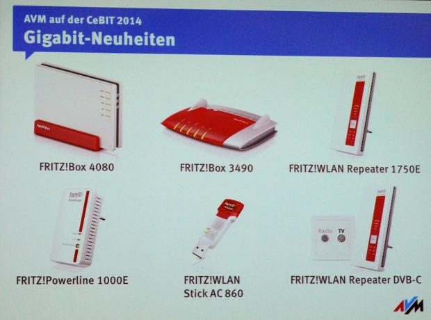 Die neuen Produkte von AVM zur Cebit 2014 (Folie: AVM/Foto: Golem.de)