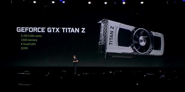 Jen-Hsun Huang kündigt die Titan-Z an. (Screenshot: Golem.de)