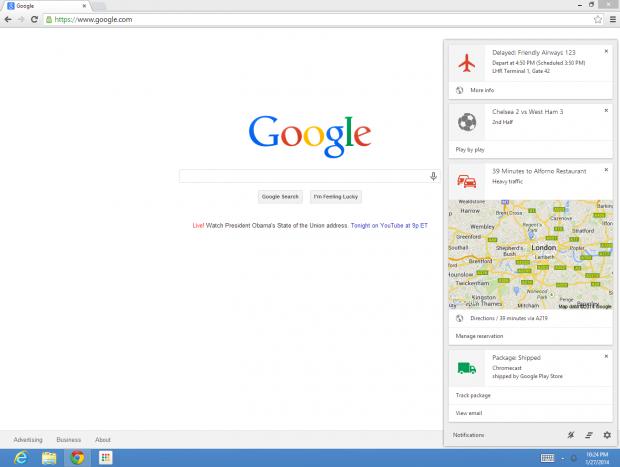 Google Now auf dem Desktop (Bild: Google)