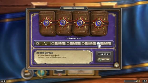 Spieler können im Shop 40 Booster-Packs für 45 Euro kaufen.