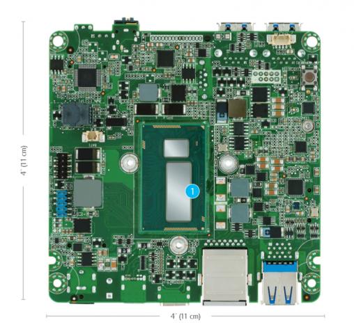 Die CPU (1)  ist bei den NUC-Mainboards auf der Unterseite angebracht. (Bild: Intel)