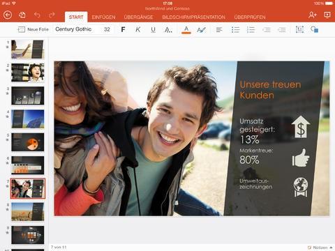 Powerpoint für das iPad (Bild: Microsoft)