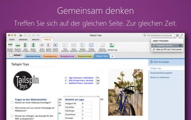 Onenote für OS X (Bild: Microsoft)