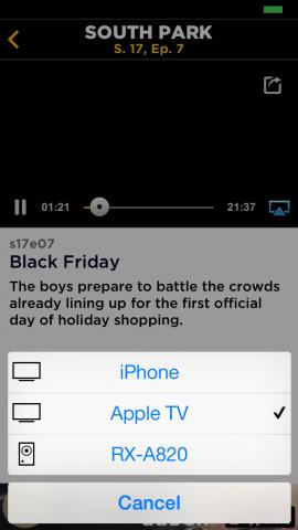 Die South-Park-App unterstützt Apple TV. (Screenshot: Golem.de)