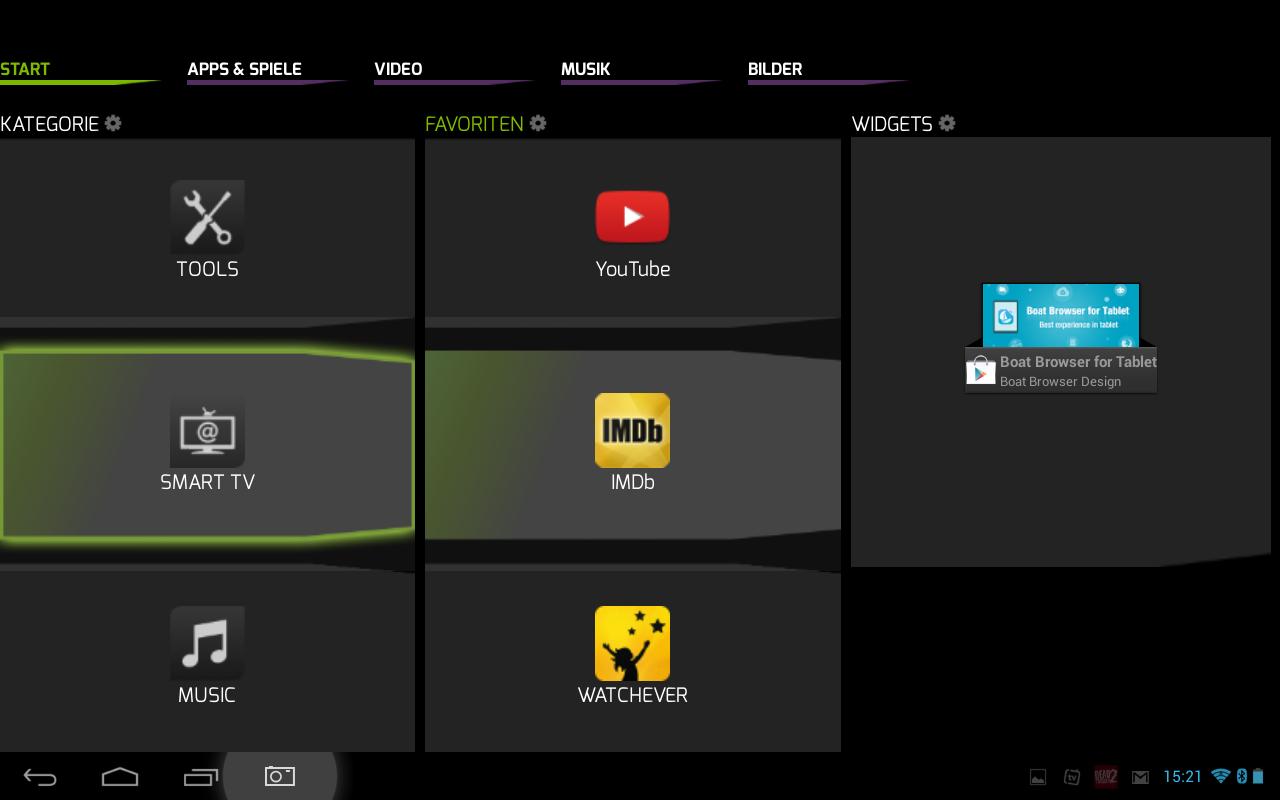 Snakebyte Vyper im Test: Gut gedacht, schlecht gemacht - Das App-Karusell erleichtert das Navigieren mit Maus-Fernbedienung und Gamepad. (Screenshot: Golem.de)