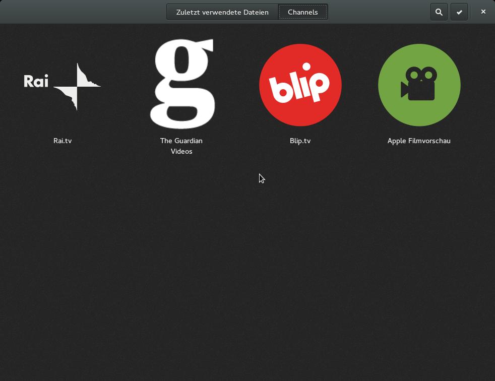 Gnome 3.12 angesehen: Wayland lässt weiter auf sich warten - Die Channels in Videos...<br>(Bild: Screenshot/Golem.de)