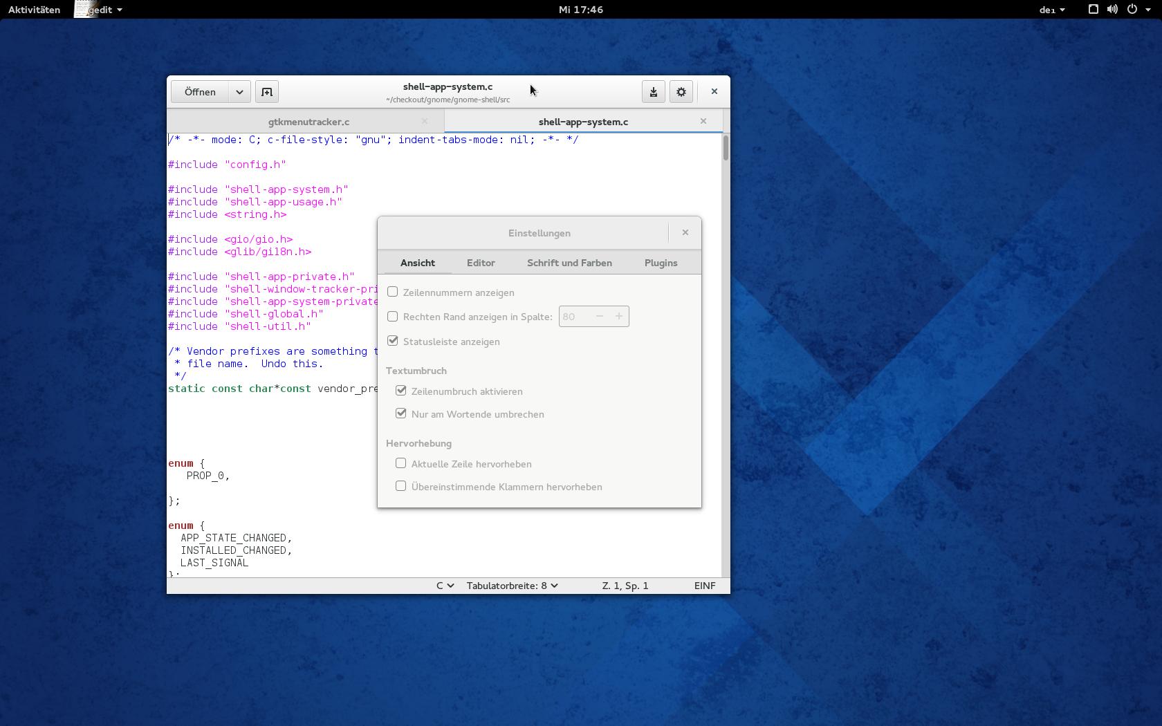 Gnome 3.12 angesehen: Wayland lässt weiter auf sich warten - Gedit mit neuem UI<br>(Bild: Screenshot/Golem.de)