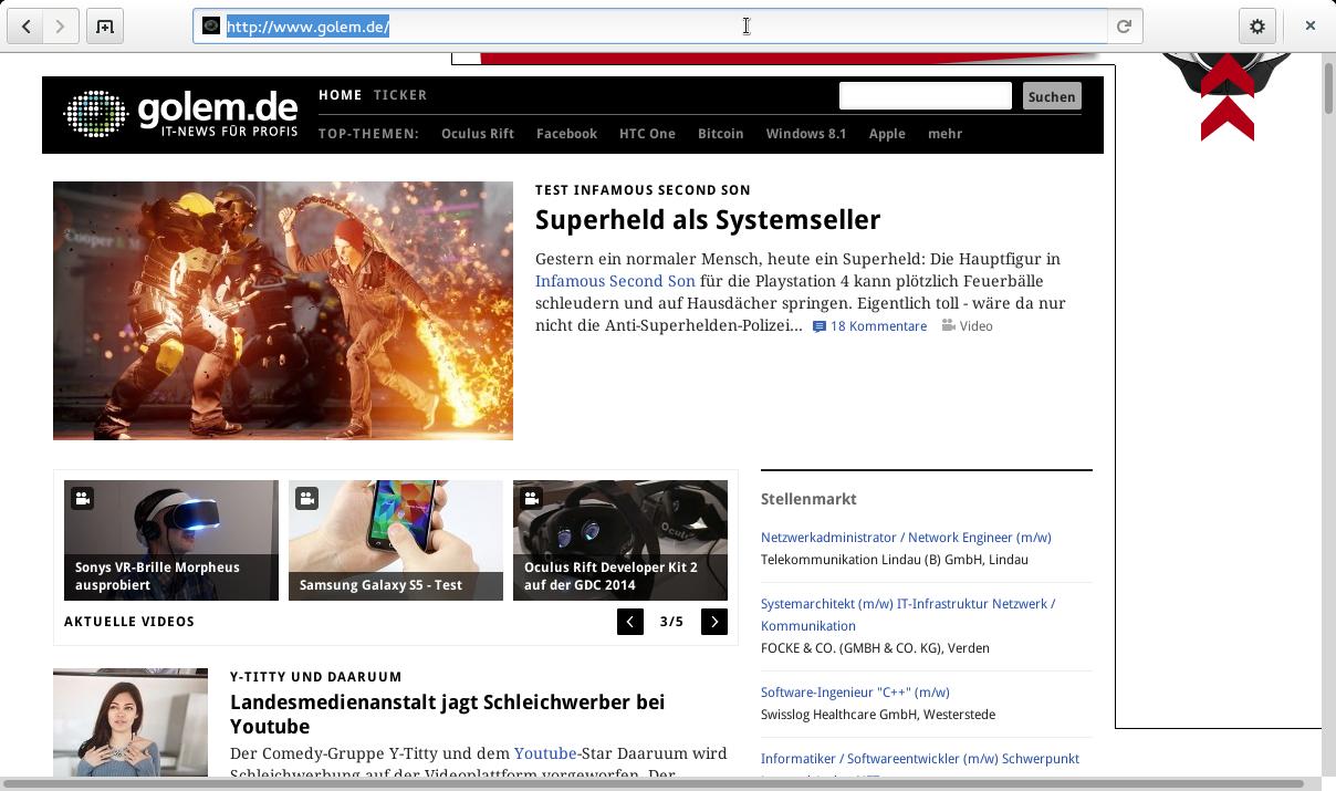 Gnome 3.12 angesehen: Wayland lässt weiter auf sich warten - Die neue Kopfleiste des Gnome-Browsers<br>(Bild: Screenshot/Golem.de)