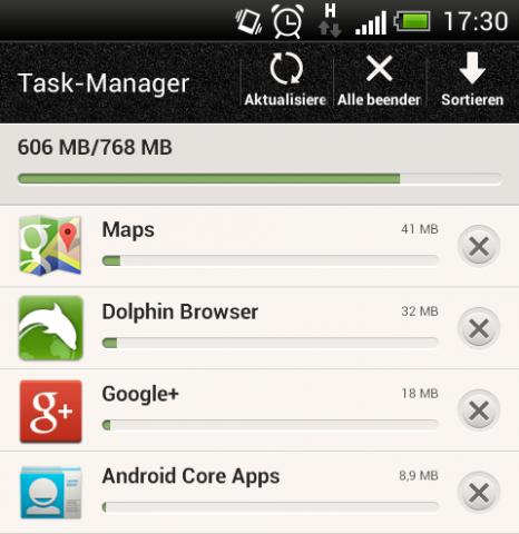Belegt ein Prozess viel Speicher, so verschiebt Android kleinere Prozesse in den LRU-Cache. (Screenshot: Marc Sauter/Golem.de)