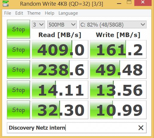 Die Sata-SSD von Sandisk ist für ein Tablet sehr schnell. (Screenshots: Golem.de)