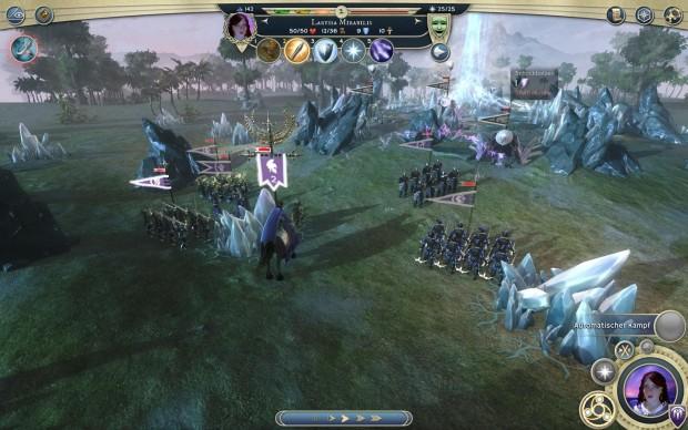 Am Anfang der Schlacht stehen sich die Heere in größerer Entfernung gegenüber. (Screenshot: Golem.de)
