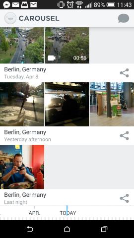 Die Foto-App Carousel ordnet Fotos der Kamera sowie auf Dropbox gespeicherte Bilder chronologisch an. (Screenshot: Golem.de)