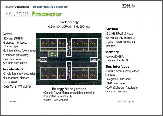Die und Funktionen des Power8 im Überblick (Folien: IBM)