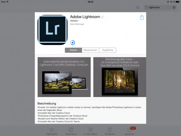 Die neue Adobe-Lightroom-Mobile-App kann seit dem 8. April 2014 kurz nach 6 Uhr im Appstore heruntergeladen werden. (Screenshot: Petra Vogt)