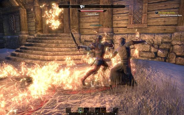 Ein menschlicher Mitstreiter legt sich mit einem computergesteuerten Flammenzauberer an.  (Screenshot: Golem.de)