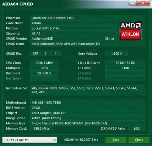 Athlon 5350 im Überblick (Screenshot: Marc Sauter/Golem.de)
