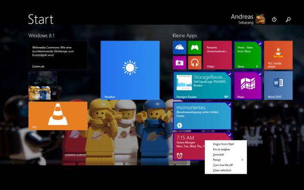 Das freut den Mausnutzer. Es gibt nun ein Kontextmenü im Startbildschirm und per Steuerungstaste lassen sich mehrere Modern-UI-Kacheln anwählen. (Screenshot: Golem.de)
