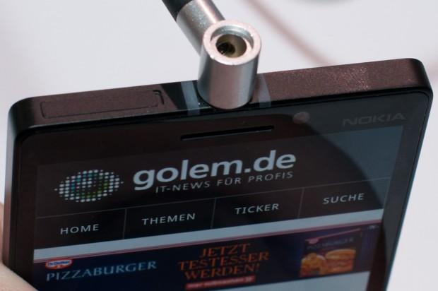 Die Kopfhörerbuchse befindet sich in der Mitte. (Foto: Andreas Sebayang/Golem.de)