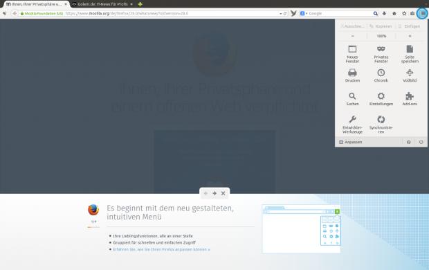 Das Australis-Design von Firefox 29