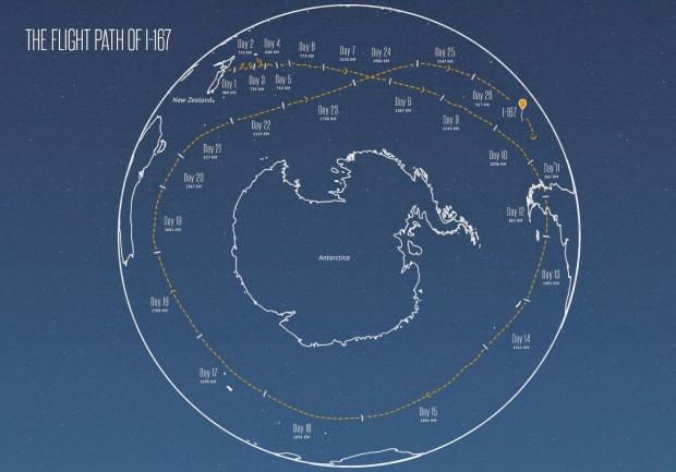 Die Route von Ballon I-167 rund um die Antarktis (Bild: Google)