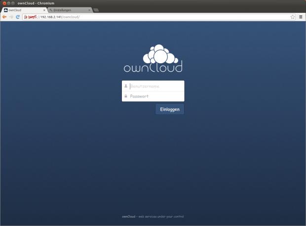 Das Anmeldefenster von Owncloud (Screenshots: Golem.de)