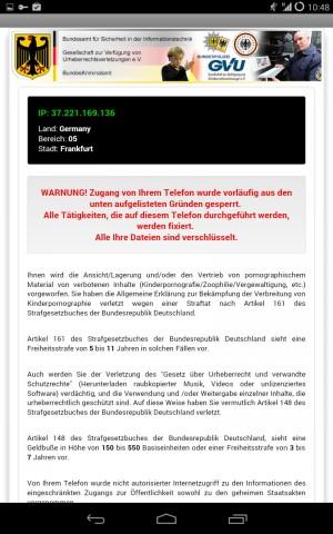 Die fingierte Warnung der Ransomware Android.Trojan.Koler.A  (Bild: Bitdefender)
