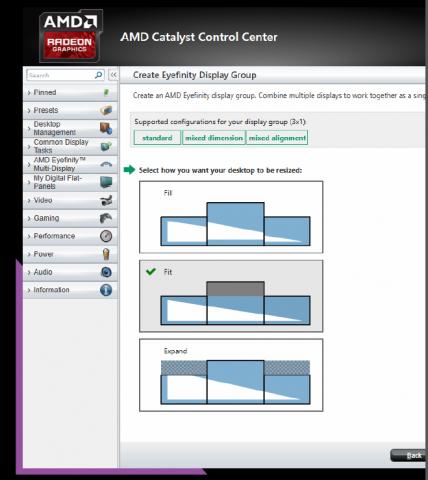 Die beiden unteren Optionen sind neu und sorgen für sinnvolle Nutzung von verschiedenen Displays. (Folien: AMD)