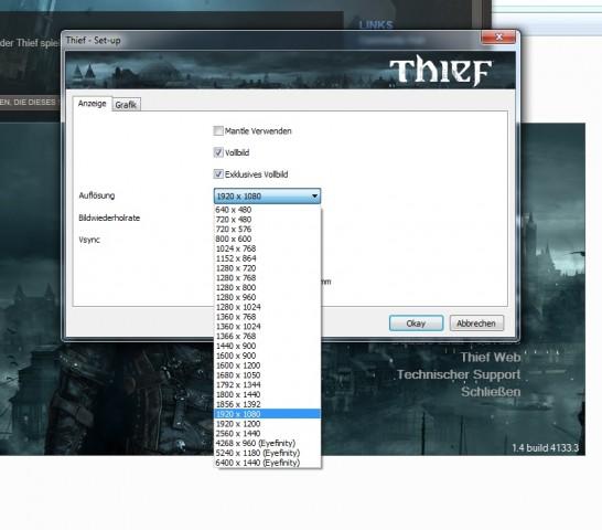Auch in Spielen kann die Eyefinity-Auflösung direkt gewählt werden. (Screenshot: Nico Ernst/Golem.de)