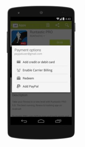 Bezahlen per Paypal im Play Store auf einem Android-Gerät (Bild: Google)
