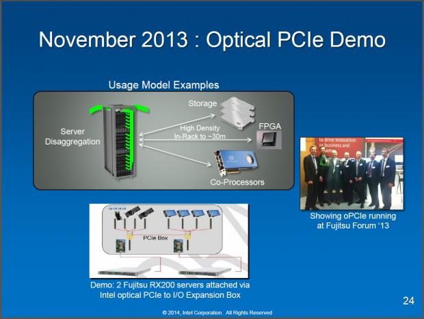 PCIe per Glasfaser zu einem anderen Rack mit Beschleunigern (Folien: Intel)