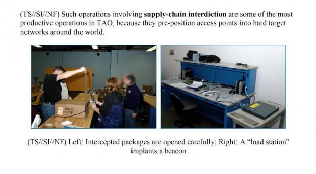 """Die NSA-Mitarbeiter packen die Geräte vorsichtig aus und implantieren einen """"beacon"""". (Quelle: Glenn Greenwald/No place to hide)"""