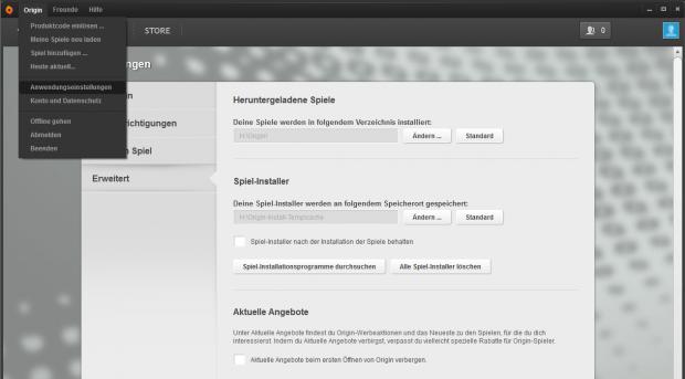 Hier findet sich bei Origin der Ordner der Spielebibliothek. (Screenshot: Golem.de)