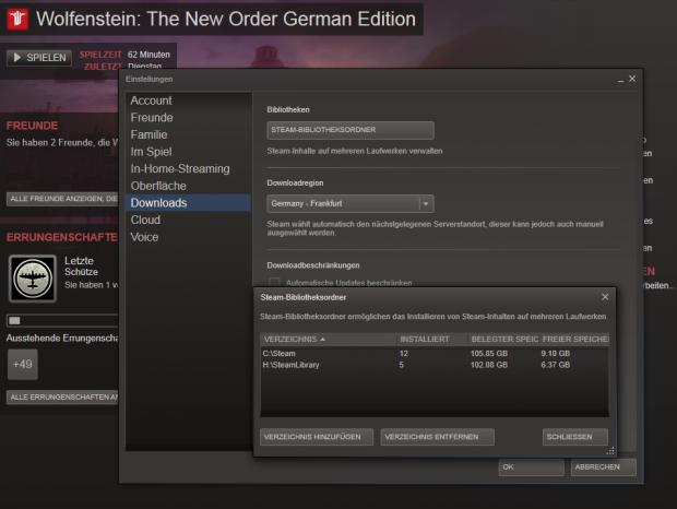 In diesem Menü zeigt Steam die Ordner der Spielebibliothek.(Screenshot: Golem.de)