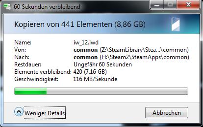 In einem schnellen Gigabit-Ethernet sind auch über 110 MB/s machbar. (Screenshot: Golem.de)