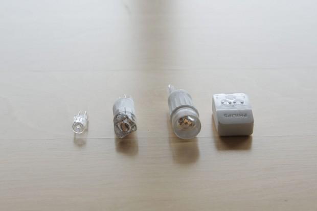 Von links nach rechts: G4-Halogen (Noname), Verbatim-G4-Ersatz, LG-G9-Ersatz und die besonders voluminöse aber starke G4-LED-Lampe von Philips.  (Foto: Nina Sebayang/Golem.de)
