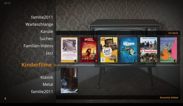 Der Startbildschirm des Plex Home Theater (Bild: Michael Kofler)