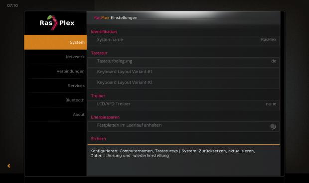 Konfiguration mit den RasPlex Settings (Bild: Michael Kofler)