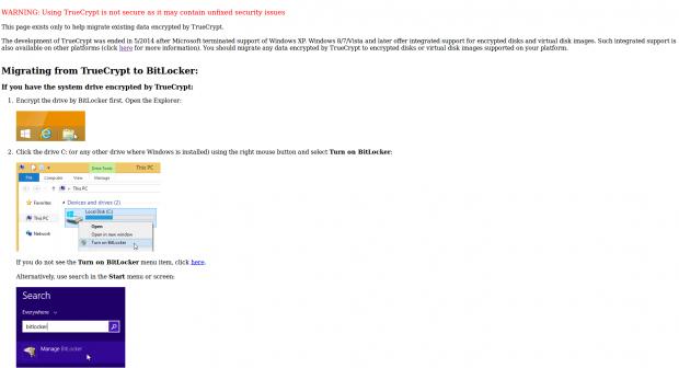 Die aktuelle Truecrypt-Webseite warnt vor ihrer eigene Software und bietet einen Anleitung zum Umstieg. (Screenshot: Golem.de)