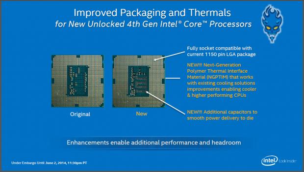 Neues TIM und mehr Kondensatoren für mehr OC-Potenzial. (Folien: Intel)