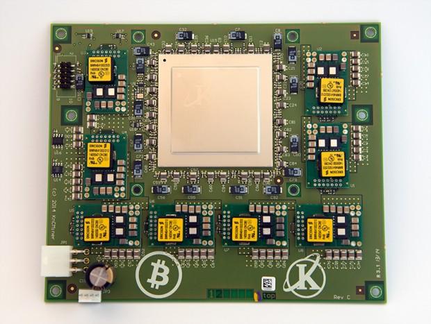 Ein Neptune-Board, hier noch mit 28-nm-ASIC (Bild: Kncminer)