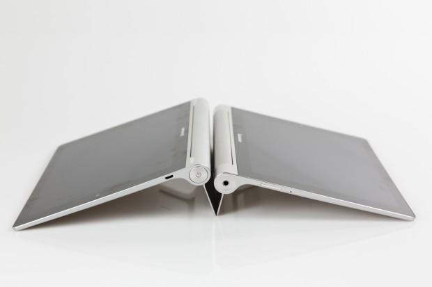Der breitere Standfuß im Yoga Tablet 10 HD+ (links) sorgt für einen steileren Winkel als beim Yoga Tablet 10 (rechts). (Bild: Tobias Költzsch/Golem.de)