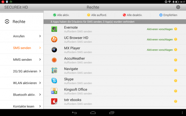Umfangreiches Rechtemanagement für Android-Apps in der Lenovo-App Secure It HD (Screenshot: Golem.de)