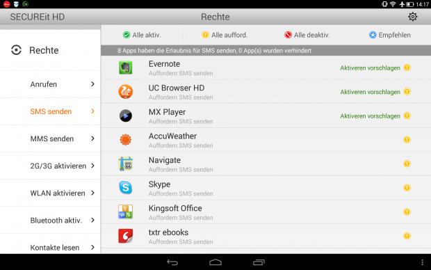 Umfangreiches Rechtemanagement für Android-Apps in der Lenovo-App Secure It HD (Screenshot: Golem.de)