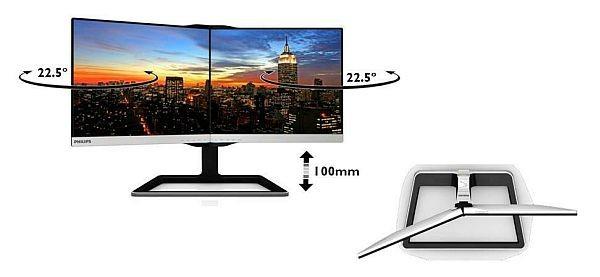 Jedes Display kann um 22,5 Grad geklappt werden...