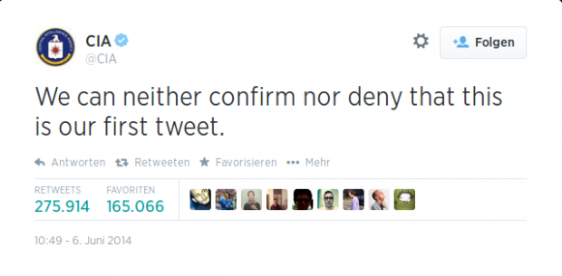Die CIA eröffnet ein Twitter-Konto... (Screenshots: Golem.de)