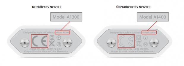 Das A1300 mit durchgehend grauem CE-Logo kann überhitzen. (Bild: Apple)