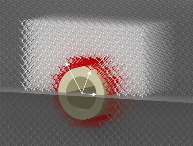 Die Tarnkappe besteht aus einem Metamaterial, das die Kraft ablenkt. (Bild: KIT)